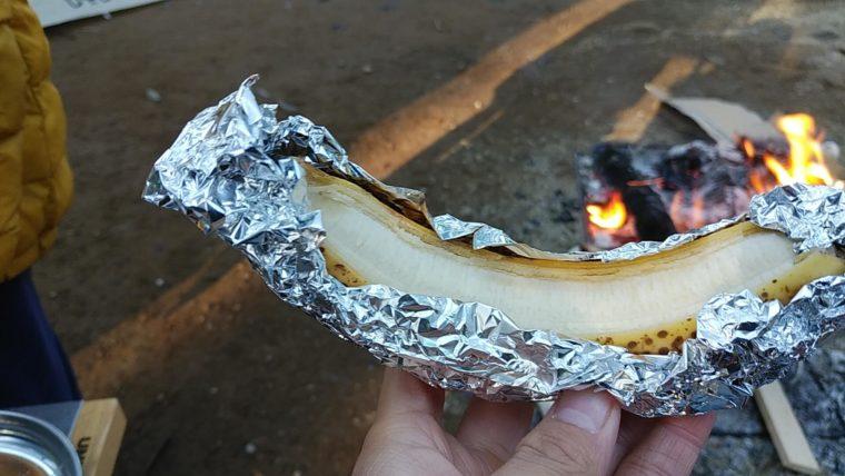 キャンプで子供の簡単おやつ「まっくろバナナ」